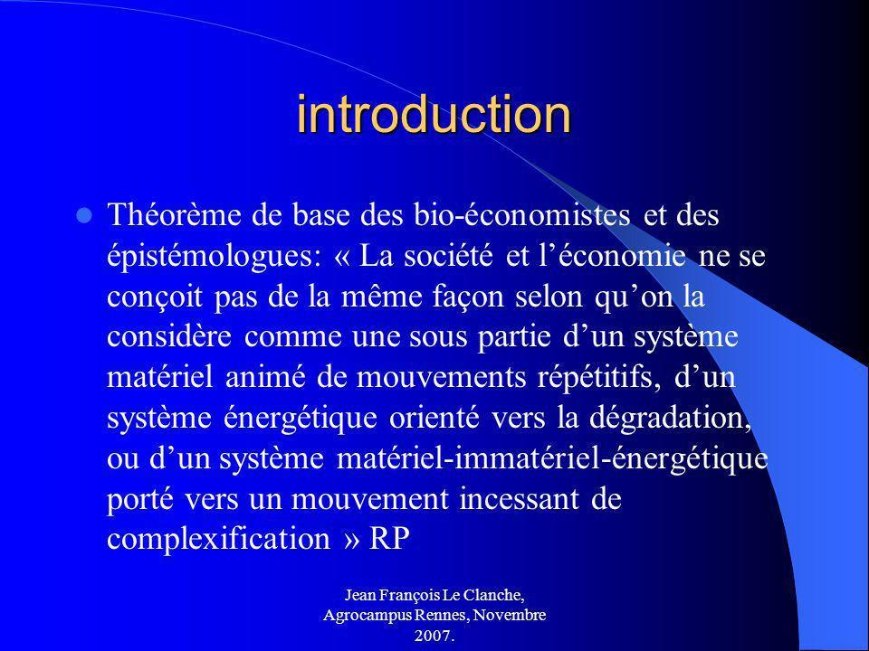 Jean François Le Clanche, Agrocampus Rennes, Novembre 2007. introduction Théorème de base des bio-économistes et des épistémologues: « La société et l