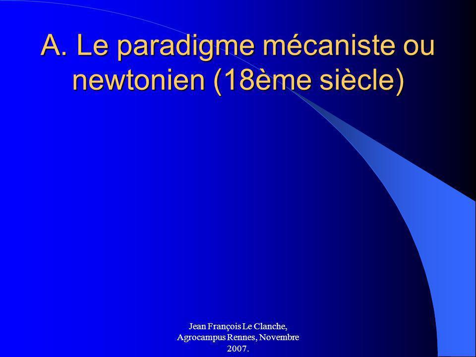 Jean François Le Clanche, Agrocampus Rennes, Novembre 2007. A. Le paradigme mécaniste ou newtonien (18ème siècle)