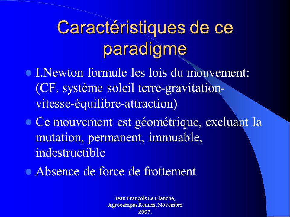Jean François Le Clanche, Agrocampus Rennes, Novembre 2007. Caractéristiques de ce paradigme I.Newton formule les lois du mouvement: (CF. système sole