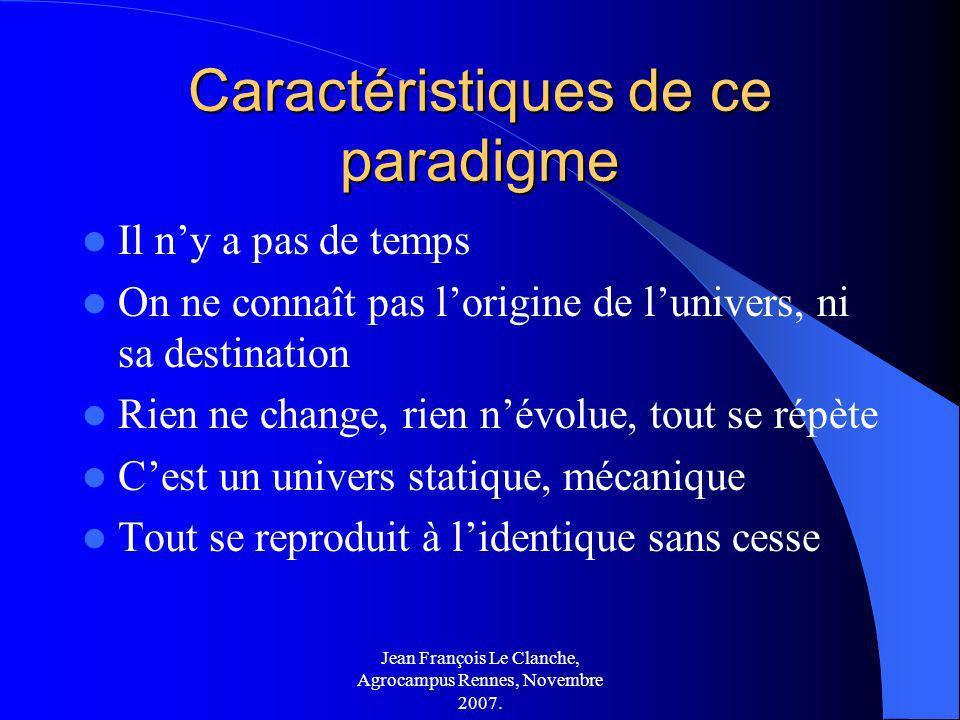 Jean François Le Clanche, Agrocampus Rennes, Novembre 2007. Caractéristiques de ce paradigme Il ny a pas de temps On ne connaît pas lorigine de lunive