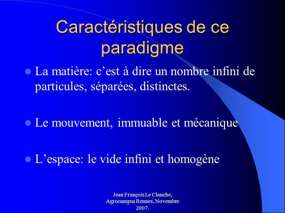 Jean François Le Clanche, Agrocampus Rennes, Novembre 2007. Caractéristiques de ce paradigme La matière: cest à dire un nombre infini de particules, s