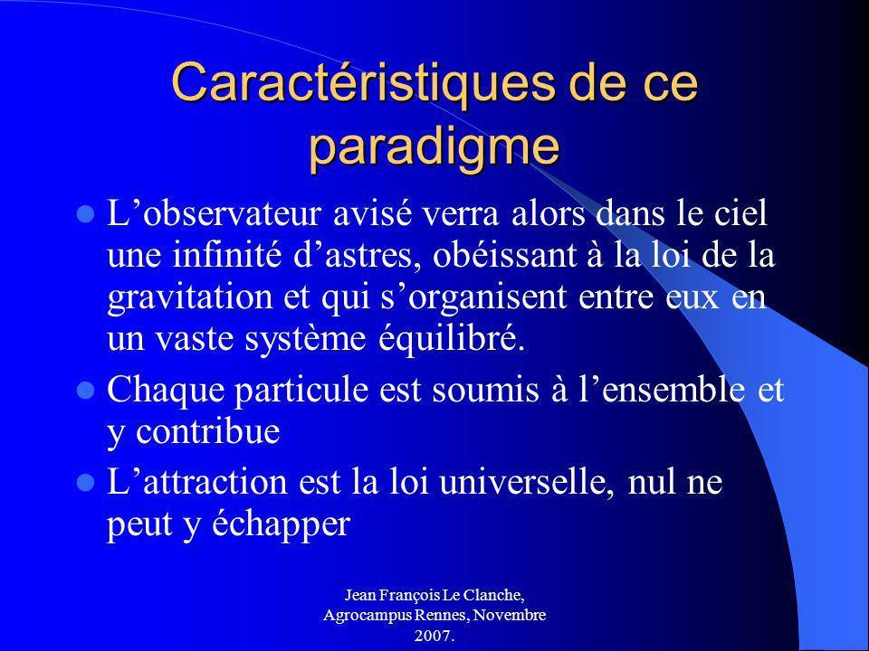 Jean François Le Clanche, Agrocampus Rennes, Novembre 2007. Caractéristiques de ce paradigme Lobservateur avisé verra alors dans le ciel une infinité