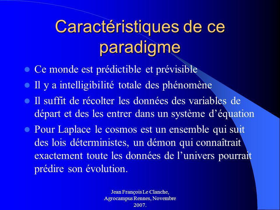 Jean François Le Clanche, Agrocampus Rennes, Novembre 2007. Caractéristiques de ce paradigme Ce monde est prédictible et prévisible Il y a intelligibi