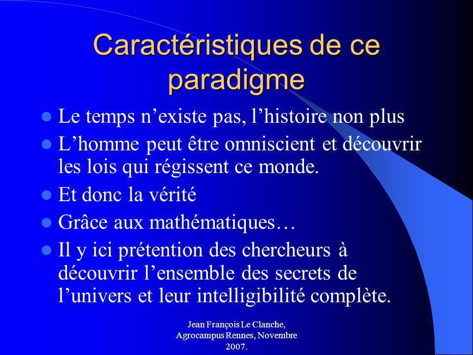 Jean François Le Clanche, Agrocampus Rennes, Novembre 2007. Caractéristiques de ce paradigme Le temps nexiste pas, lhistoire non plus Lhomme peut être