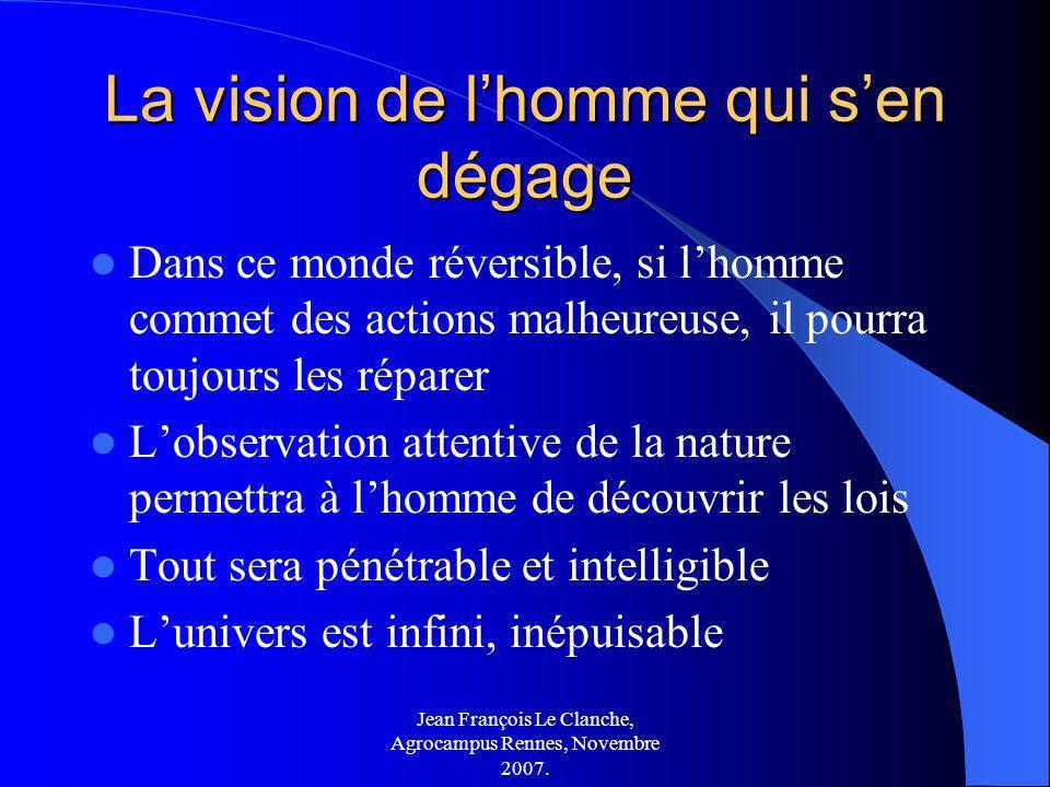 Jean François Le Clanche, Agrocampus Rennes, Novembre 2007. La vision de lhomme qui sen dégage Dans ce monde réversible, si lhomme commet des actions