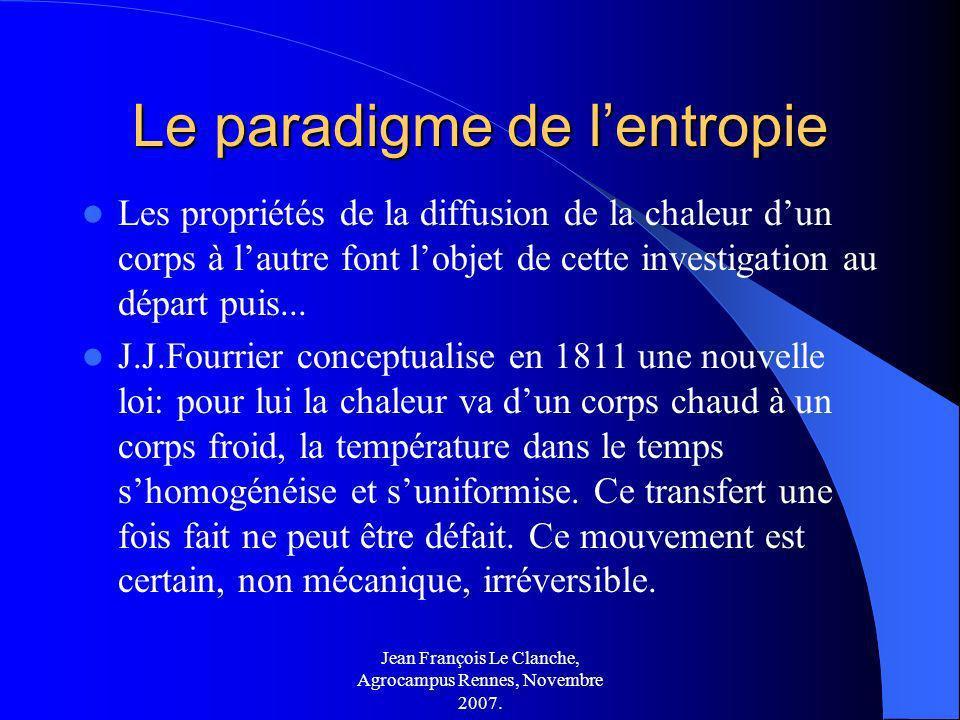 Jean François Le Clanche, Agrocampus Rennes, Novembre 2007. Le paradigme de lentropie Les propriétés de la diffusion de la chaleur dun corps à lautre