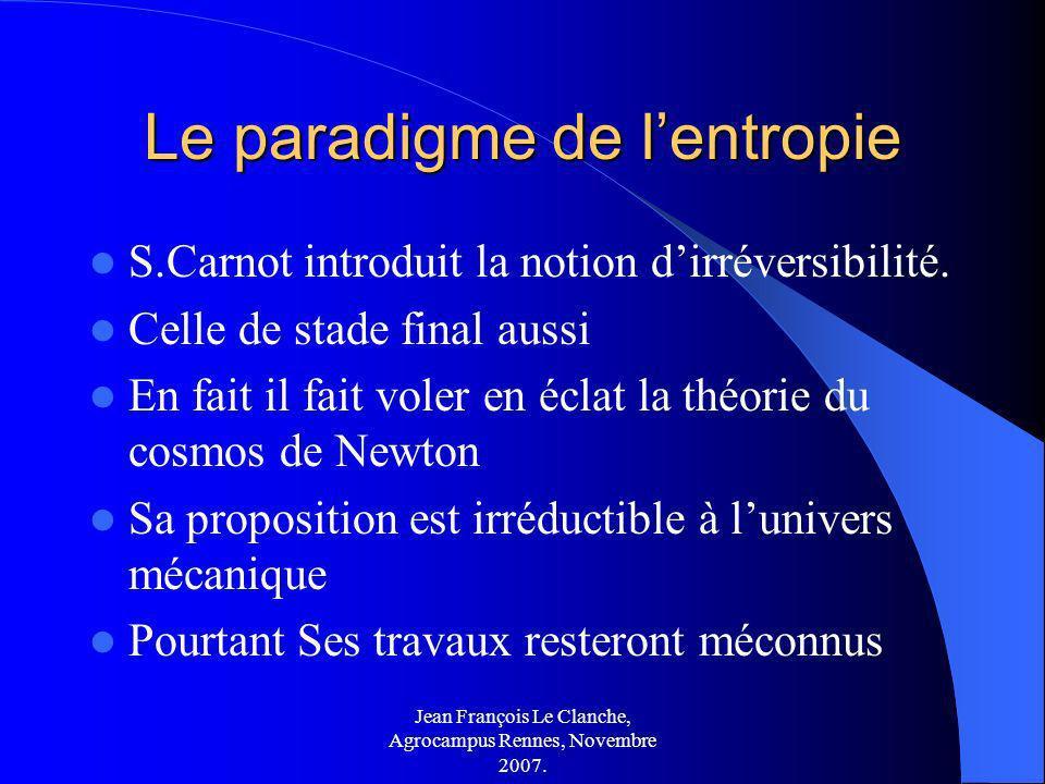 Jean François Le Clanche, Agrocampus Rennes, Novembre 2007. Le paradigme de lentropie S.Carnot introduit la notion dirréversibilité. Celle de stade fi