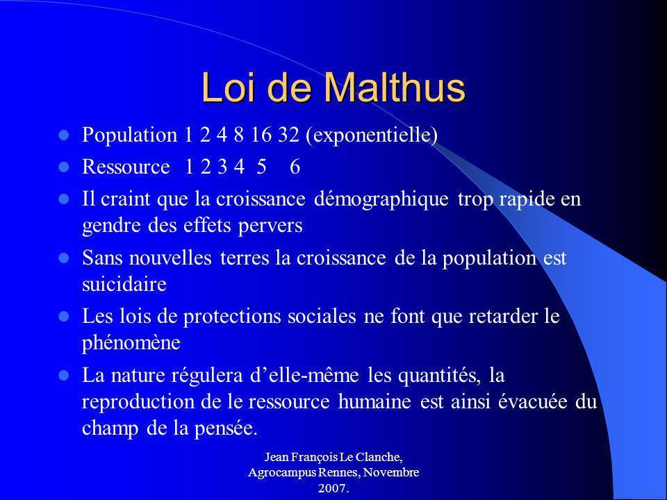 Jean François Le Clanche, Agrocampus Rennes, Novembre 2007. Loi de Malthus Population 1 2 4 8 16 32 (exponentielle) Ressource 1 2 3 4 5 6 Il craint qu