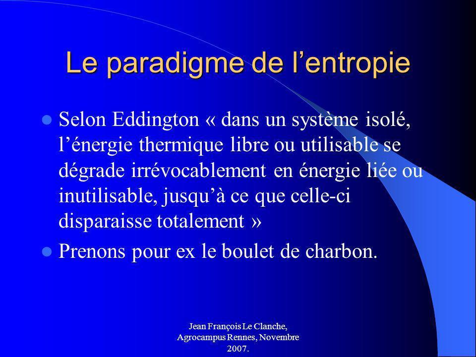 Jean François Le Clanche, Agrocampus Rennes, Novembre 2007. Le paradigme de lentropie Selon Eddington « dans un système isolé, lénergie thermique libr