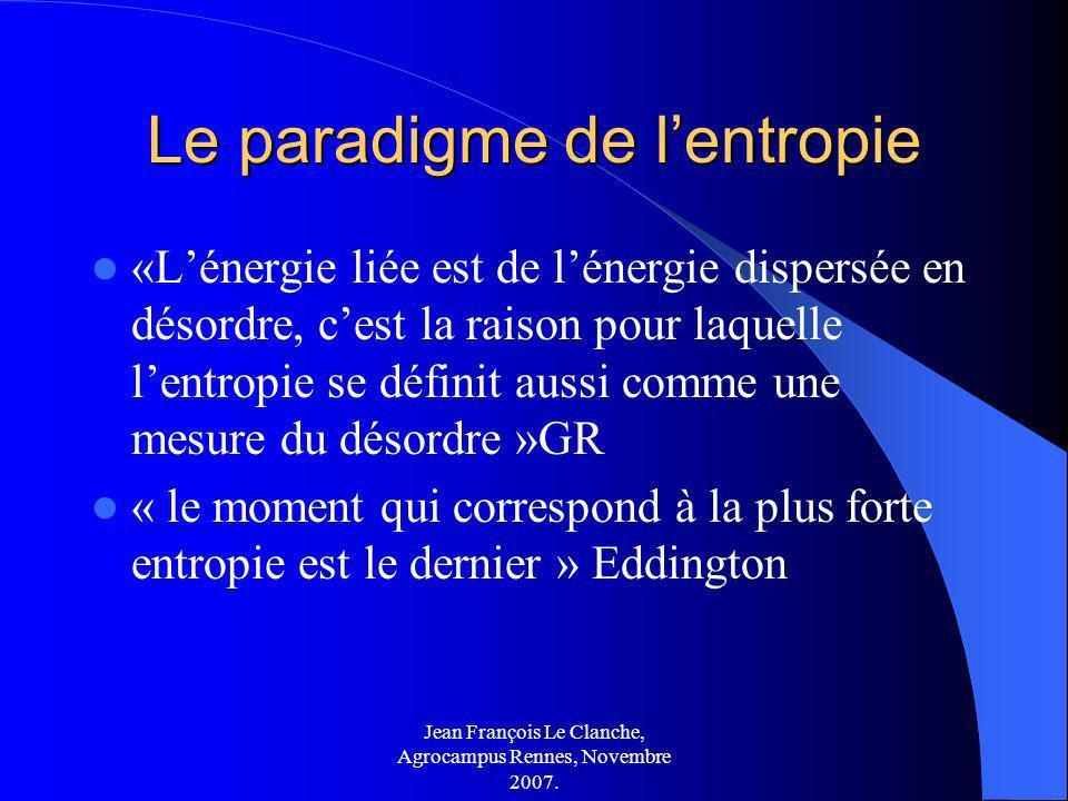Jean François Le Clanche, Agrocampus Rennes, Novembre 2007. Le paradigme de lentropie «Lénergie liée est de lénergie dispersée en désordre, cest la ra
