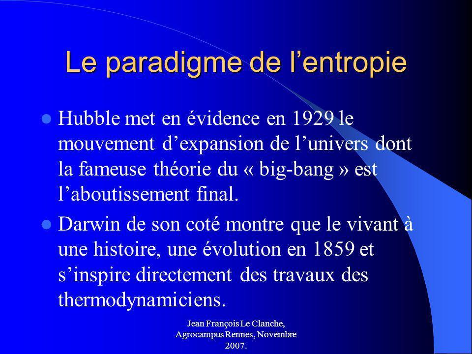 Jean François Le Clanche, Agrocampus Rennes, Novembre 2007. Le paradigme de lentropie Hubble met en évidence en 1929 le mouvement dexpansion de lunive