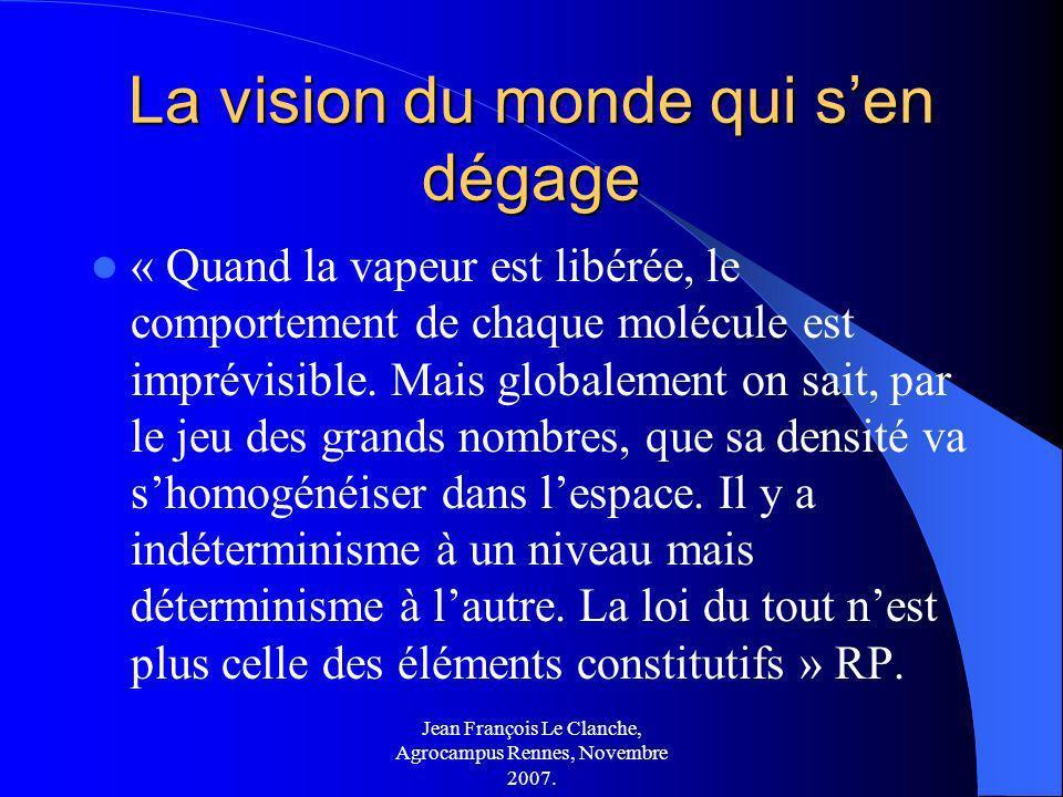 Jean François Le Clanche, Agrocampus Rennes, Novembre 2007. La vision du monde qui sen dégage « Quand la vapeur est libérée, le comportement de chaque