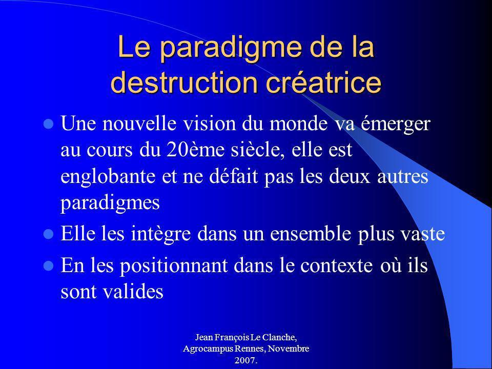 Jean François Le Clanche, Agrocampus Rennes, Novembre 2007. Le paradigme de la destruction créatrice Une nouvelle vision du monde va émerger au cours