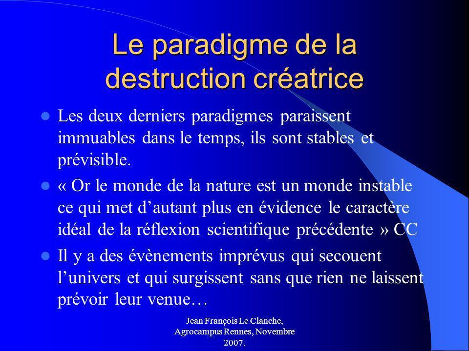 Jean François Le Clanche, Agrocampus Rennes, Novembre 2007. Le paradigme de la destruction créatrice Les deux derniers paradigmes paraissent immuables