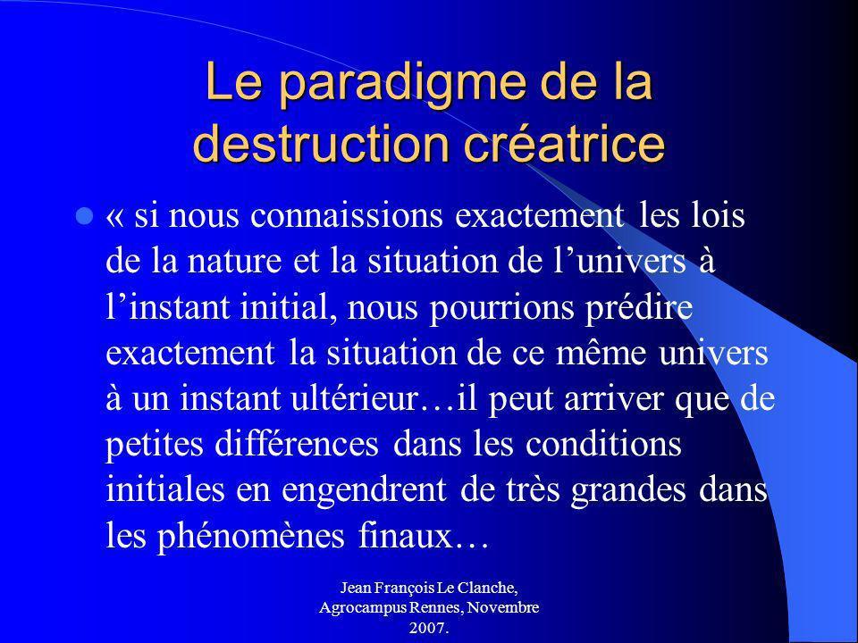 Jean François Le Clanche, Agrocampus Rennes, Novembre 2007. Le paradigme de la destruction créatrice « si nous connaissions exactement les lois de la