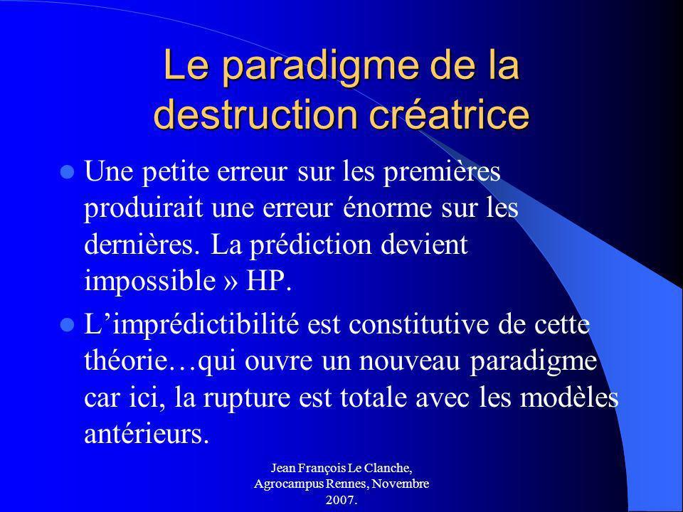 Jean François Le Clanche, Agrocampus Rennes, Novembre 2007. Le paradigme de la destruction créatrice Une petite erreur sur les premières produirait un