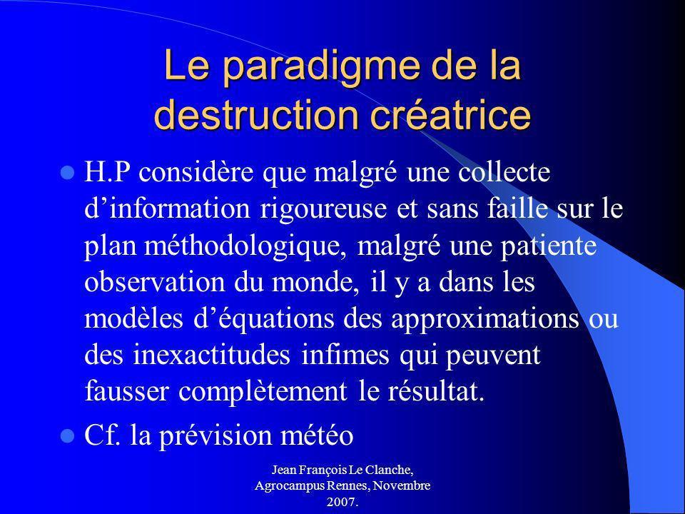 Jean François Le Clanche, Agrocampus Rennes, Novembre 2007. Le paradigme de la destruction créatrice H.P considère que malgré une collecte dinformatio