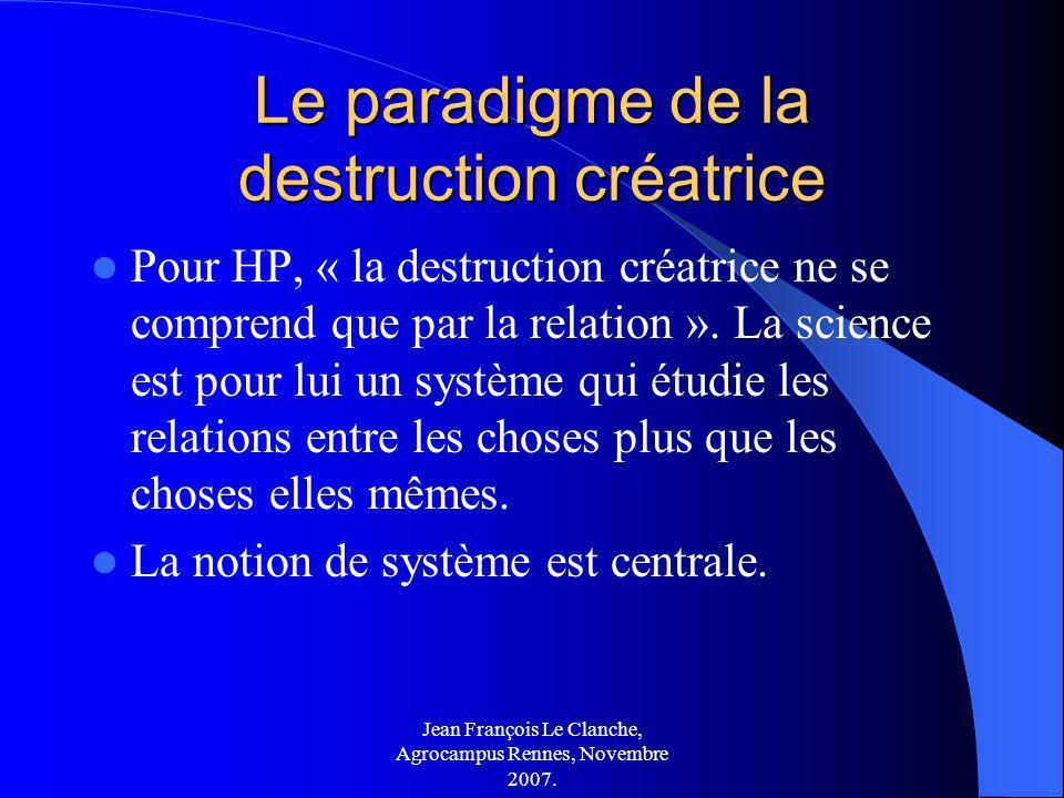 Jean François Le Clanche, Agrocampus Rennes, Novembre 2007. Le paradigme de la destruction créatrice Pour HP, « la destruction créatrice ne se compren