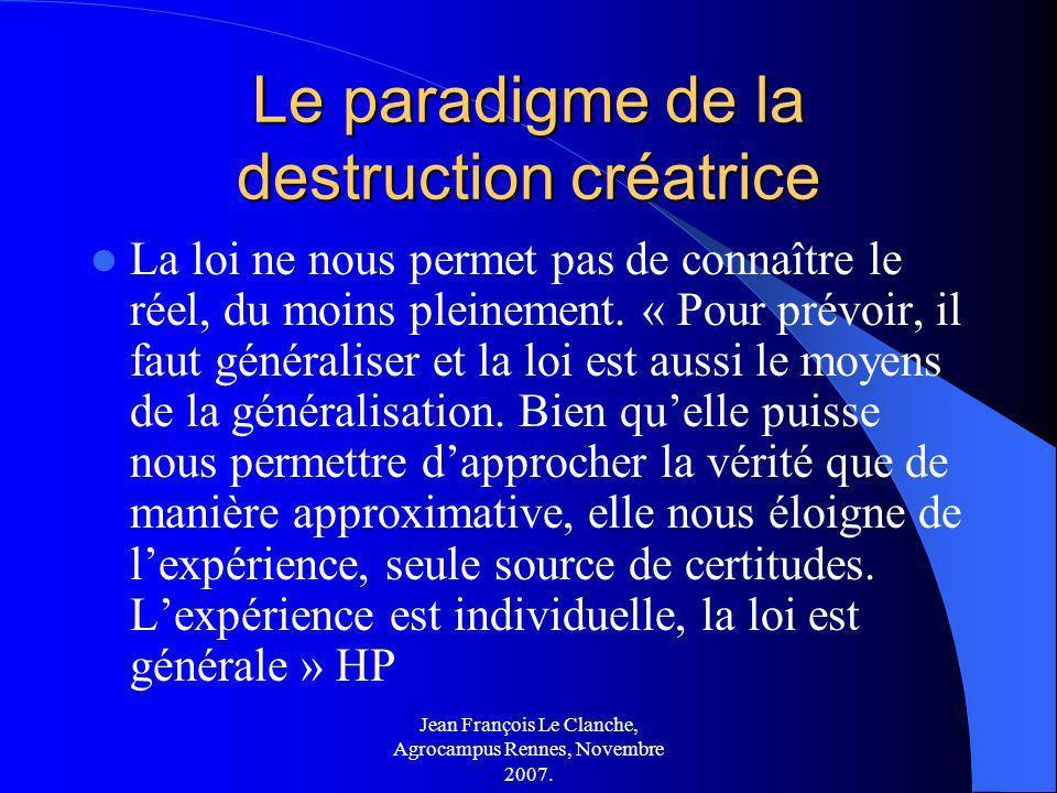 Jean François Le Clanche, Agrocampus Rennes, Novembre 2007. Le paradigme de la destruction créatrice La loi ne nous permet pas de connaître le réel, d
