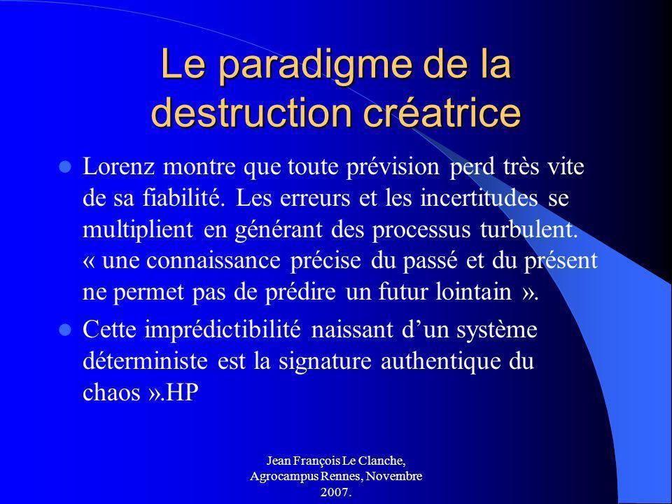 Jean François Le Clanche, Agrocampus Rennes, Novembre 2007. Le paradigme de la destruction créatrice Lorenz montre que toute prévision perd très vite