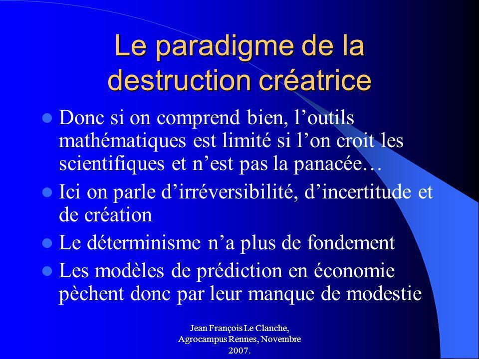 Jean François Le Clanche, Agrocampus Rennes, Novembre 2007. Le paradigme de la destruction créatrice Donc si on comprend bien, loutils mathématiques e