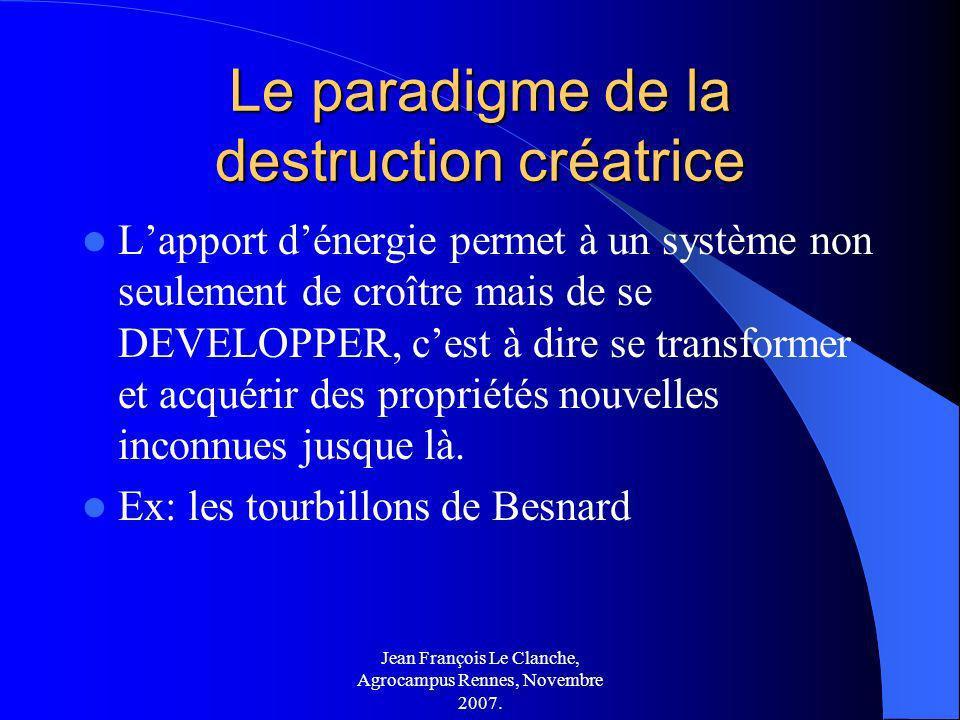 Jean François Le Clanche, Agrocampus Rennes, Novembre 2007. Le paradigme de la destruction créatrice Lapport dénergie permet à un système non seulemen