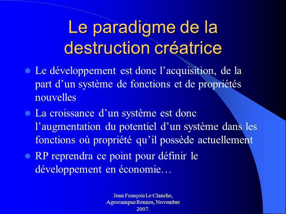 Jean François Le Clanche, Agrocampus Rennes, Novembre 2007. Le paradigme de la destruction créatrice Le développement est donc lacquisition, de la par