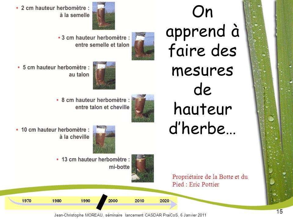 15 Jean-Christophe MOREAU, séminaire lancement CASDAR PraiCoS, 6 Janvier 2011 On apprend à faire des mesures de hauteur dherbe… Propriétaire de la Botte et du Pied : Eric Pottier