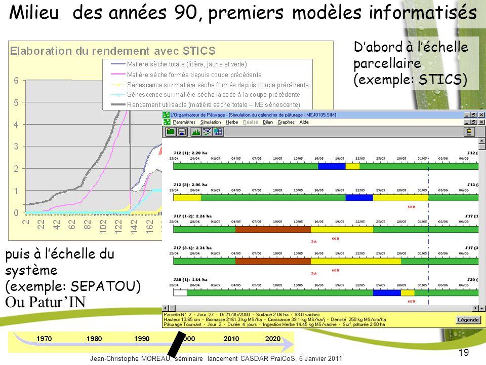 19 Jean-Christophe MOREAU, séminaire lancement CASDAR PraiCoS, 6 Janvier 2011 Dabord à léchelle parcellaire (exemple: STICS) Milieu des années 90, premiers modèles informatisés puis à léchelle du système (exemple: SEPATOU) Ou PaturIN