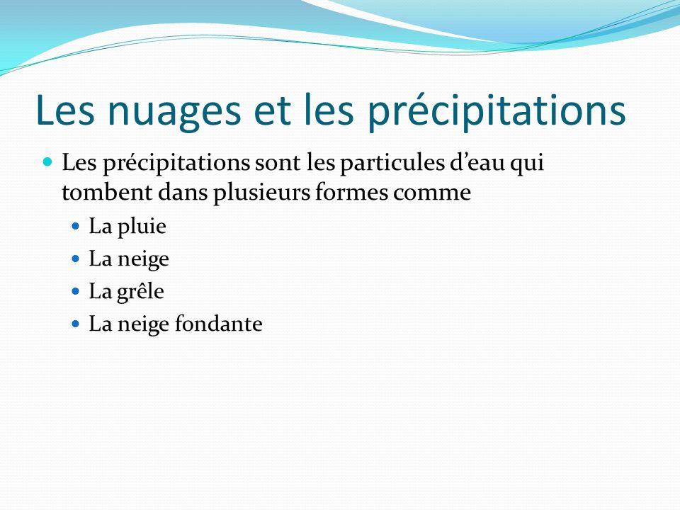 Les nuages et les précipitations Les précipitations sont les particules deau qui tombent dans plusieurs formes comme La pluie La neige La grêle La nei