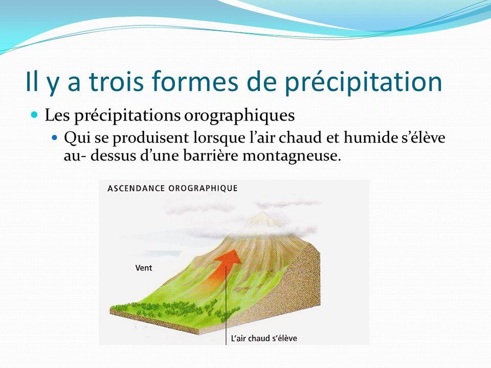 Il y a trois formes de précipitation Les précipitations orographiques Qui se produisent lorsque lair chaud et humide sélève au- dessus dune barrière m