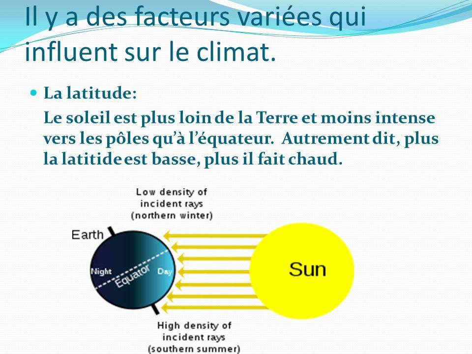 Il y a des facteurs variées qui influent sur le climat. La latitude: Le soleil est plus loin de la Terre et moins intense vers les pôles quà léquateur