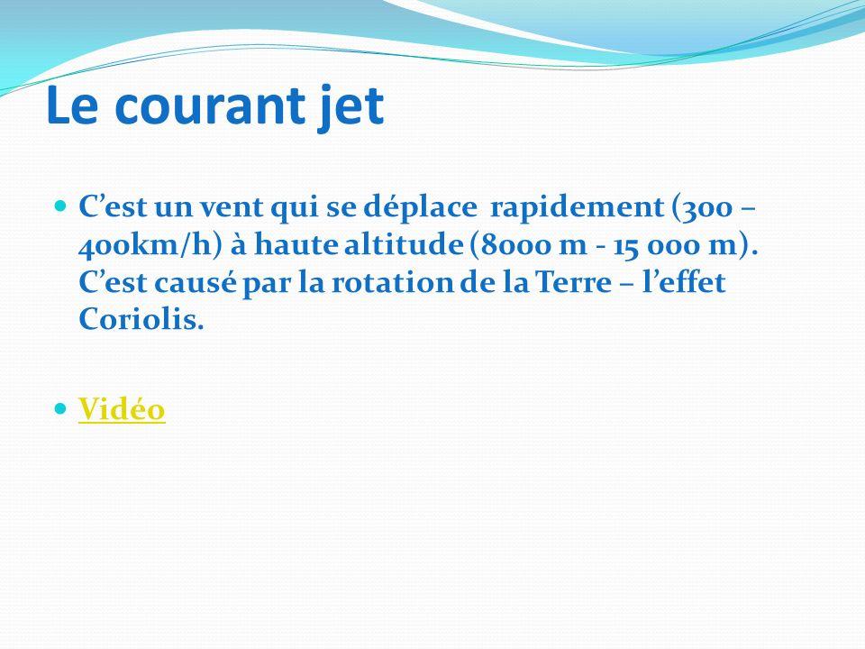 Le courant jet Cest un vent qui se déplace rapidement (300 – 400km/h) à haute altitude (8000 m - 15 000 m). Cest causé par la rotation de la Terre – l