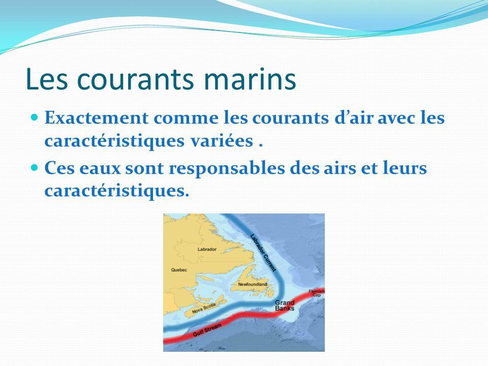 Les courants marins Exactement comme les courants dair avec les caractéristiques variées. Ces eaux sont responsables des airs et leurs caractéristique