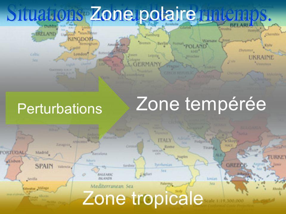 Zone polaire Zone tempérée Perturbations Zone tropicale