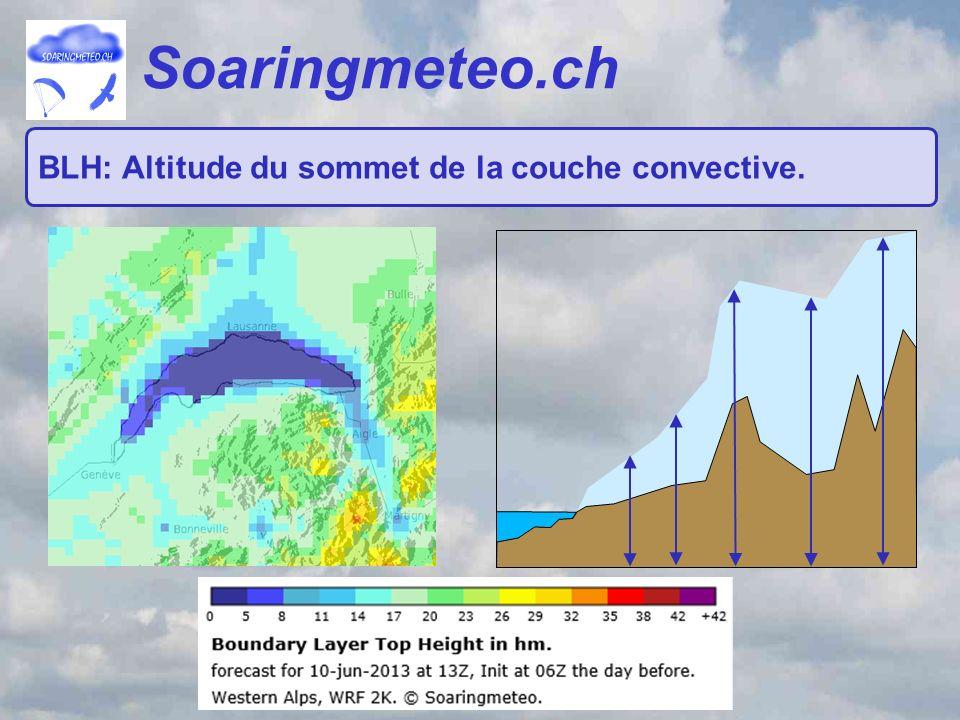 Soaringmeteo.ch BLH: Altitude du sommet de la couche convective.