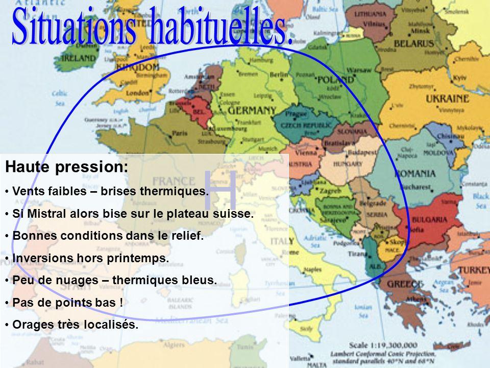 HH T Marais barométrique: Vents faibles mais brises thermiques fortes.