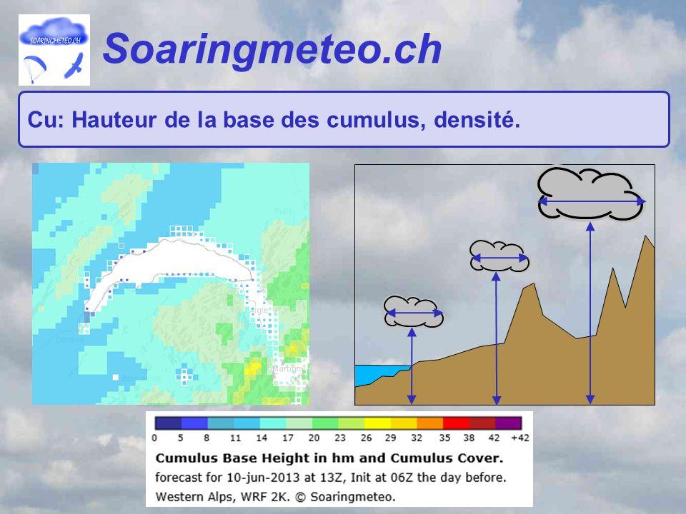 Soaringmeteo.ch Cu: Hauteur de la base des cumulus, densité.