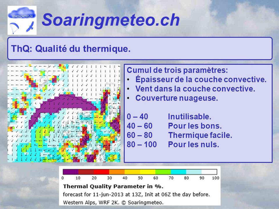 Soaringmeteo.ch ThQ: Qualité du thermique. Cumul de trois paramètres: Épaisseur de la couche convective. Vent dans la couche convective. Couverture nu