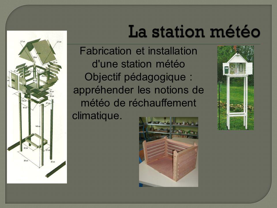 Fabrication et installation d'une station météo Objectif pédagogique : appréhender les notions de météo de réchauffement climatique.