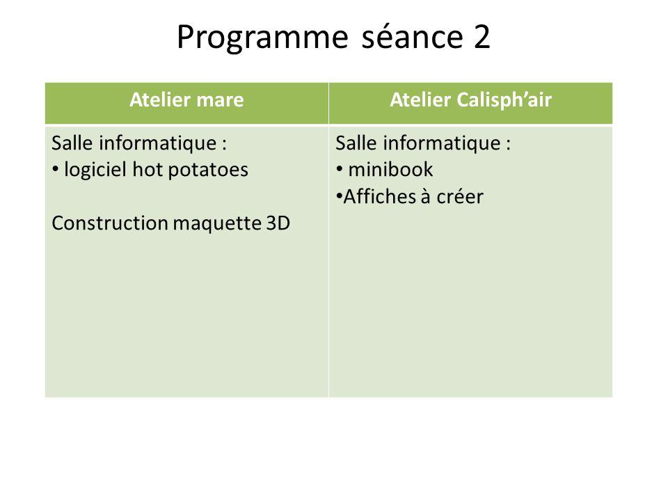 Programme séance 2 Atelier mareAtelier Calisphair Salle informatique : logiciel hot potatoes Construction maquette 3D Salle informatique : minibook Af