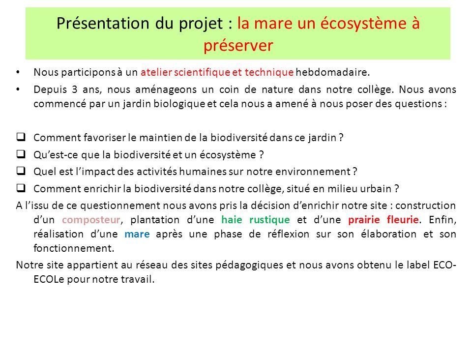 Présentation du projet : la mare un écosystème à préserver Nous participons à un atelier scientifique et technique hebdomadaire. Depuis 3 ans, nous am