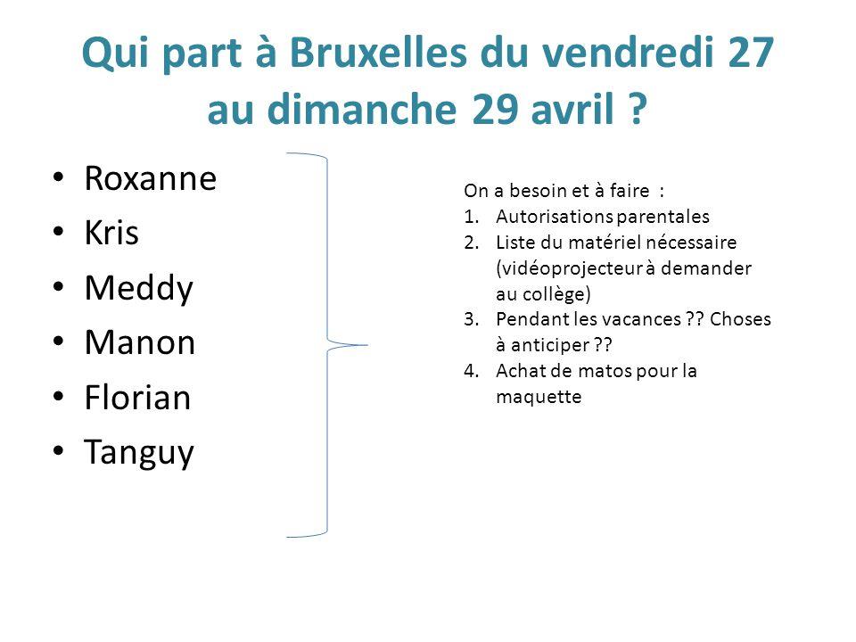 Qui part à Bruxelles du vendredi 27 au dimanche 29 avril ? Roxanne Kris Meddy Manon Florian Tanguy On a besoin et à faire : 1.Autorisations parentales