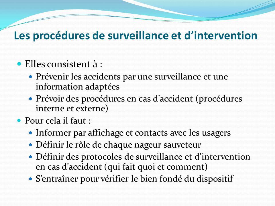 Les procédures de surveillance et dintervention Elles consistent à : Prévenir les accidents par une surveillance et une information adaptées Prévoir d