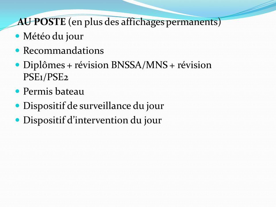 AU POSTE (en plus des affichages permanents) Météo du jour Recommandations Diplômes + révision BNSSA/MNS + révision PSE1/PSE2 Permis bateau Dispositif
