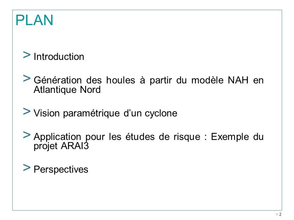 PLAN > Introduction > Génération des houles à partir du modèle NAH en Atlantique Nord > Vision paramétrique dun cyclone > Application pour les études de risque : Exemple du projet ARAI3 > Perspectives > 2