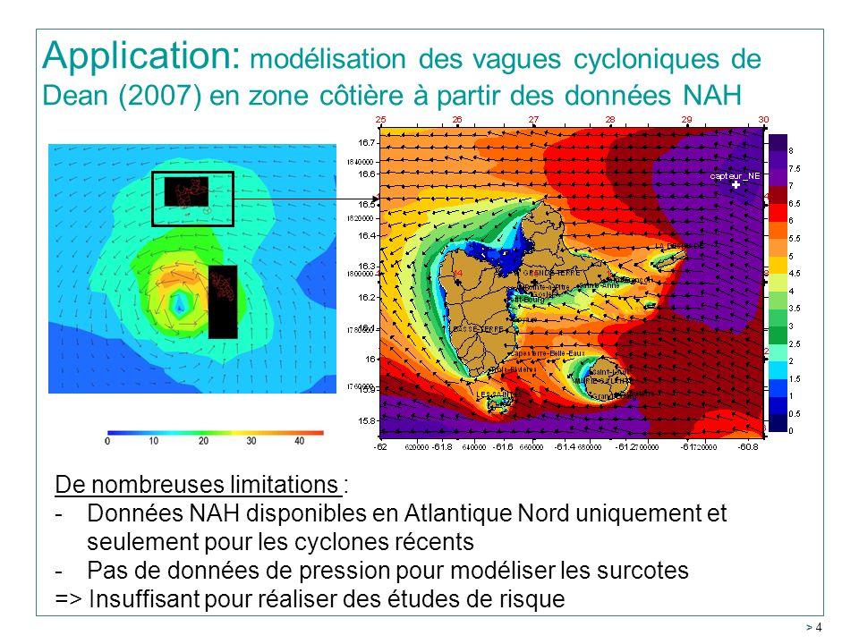> 4 Application: modélisation des vagues cycloniques de Dean (2007) en zone côtière à partir des données NAH De nombreuses limitations : -Données NAH disponibles en Atlantique Nord uniquement et seulement pour les cyclones récents -Pas de données de pression pour modéliser les surcotes => Insuffisant pour réaliser des études de risque