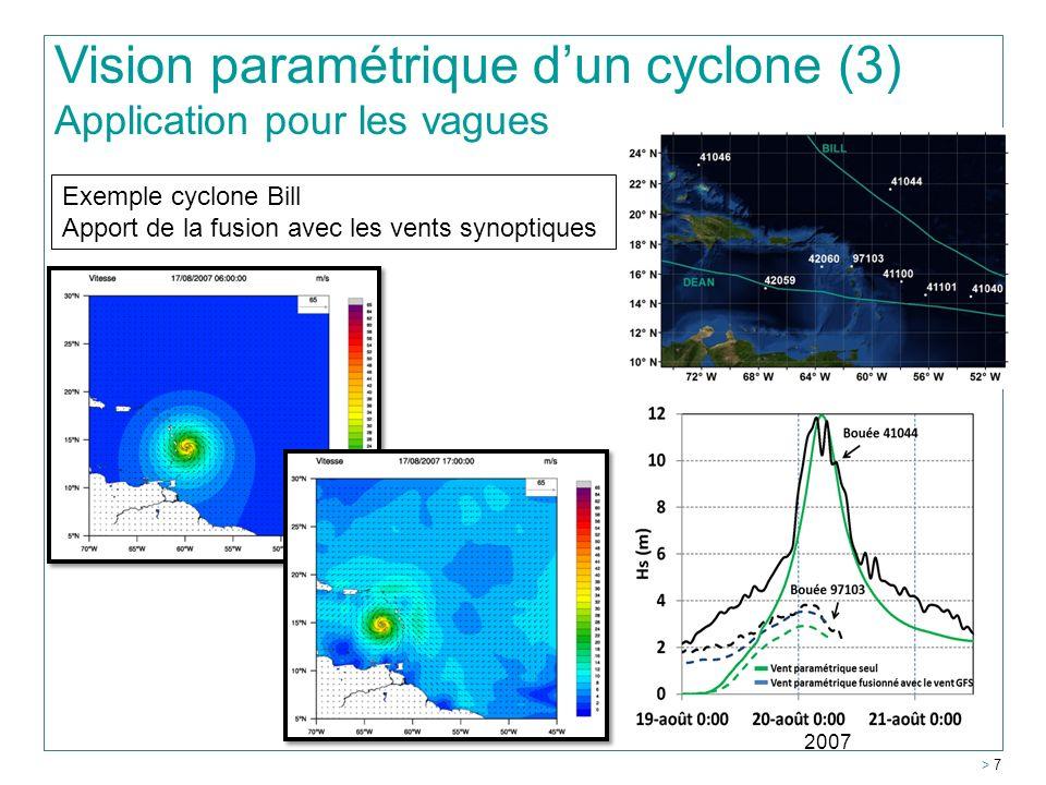 Vision paramétrique dun cyclone (3) Application pour les vagues Exemple cyclone Bill Apport de la fusion avec les vents synoptiques > 7 2007