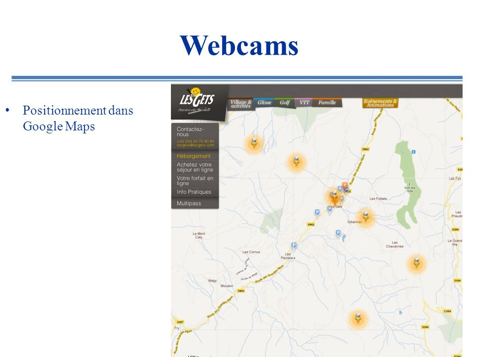 Webcams Positionnement dans Google Maps