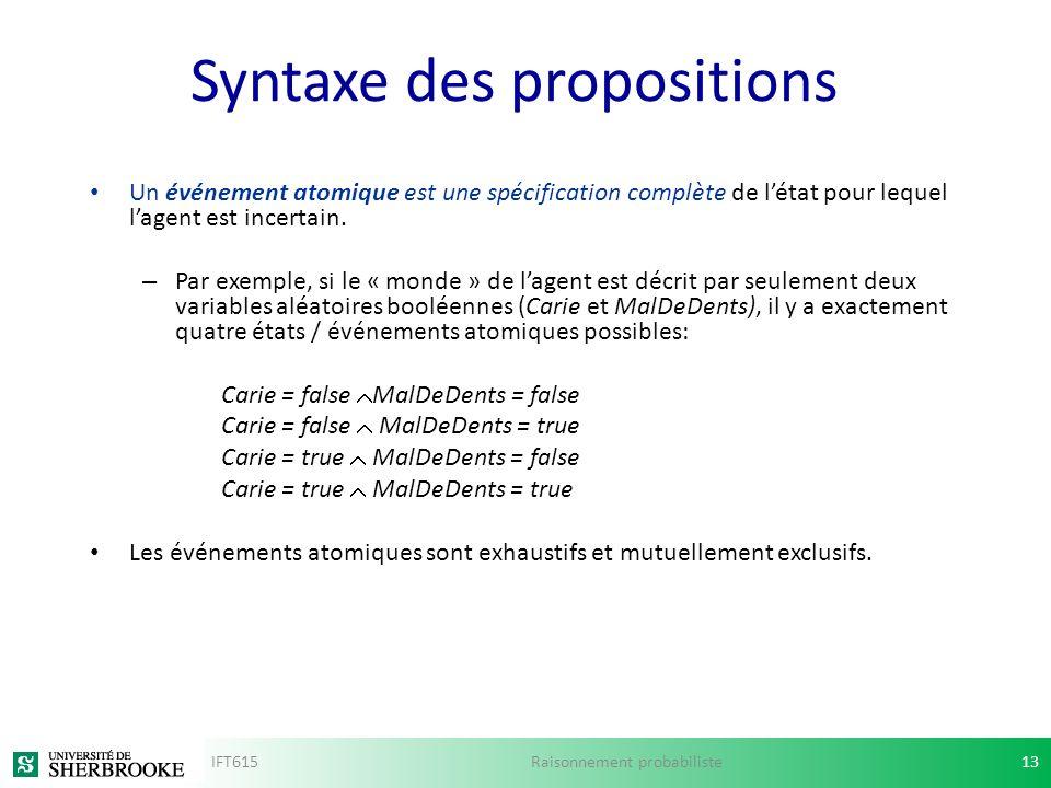 Syntaxe des propositions Un événement atomique est une spécification complète de létat pour lequel lagent est incertain. – Par exemple, si le « monde